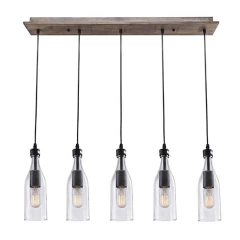 5 light wood glass linear ceiling light fixture, kitchen dinning room chandelier