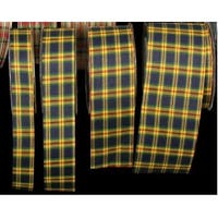 "Yellow, Blue, and Red Tartan Cut Edge Craft Ribbon 1"" x 132 Yards"