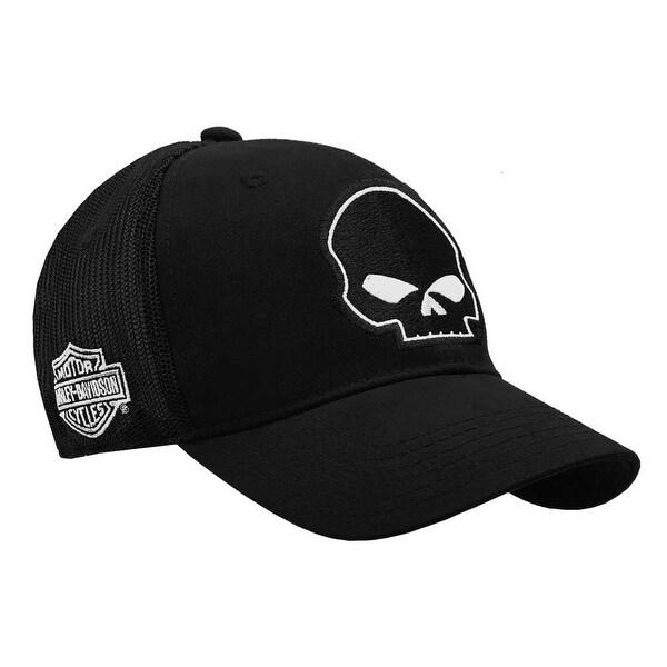 8c1af5d4ca Shop Harley-Davidson Willie G Skull Black Baseball Cap Stretch Fit BC119930  - Free Shipping On Orders Over $45 - Overstock - 18802764