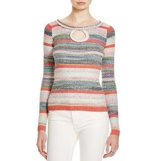Free People Womens Sunshine Day Pullover Sweater Striped Keyhole