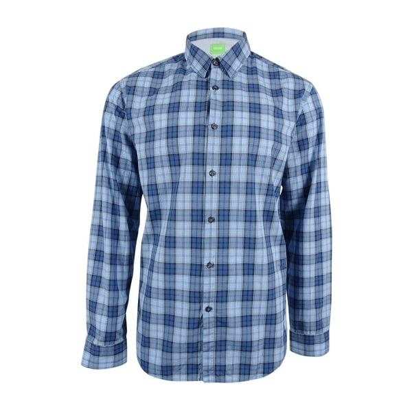 6331cbc06 Shop Hugo Boss Men's Briar Plaid Shirt - Blue - Free Shipping On Orders Over  $45 - Overstock - 18947221