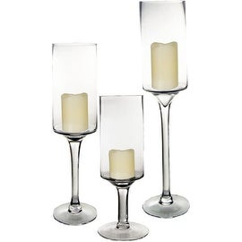 "CYS® Candle Holder Set of 3. Glass Pedestal Candle Holders in 3 Different Heights (H-16"", 20"", 24"") Open D-5"""