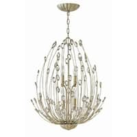 """Fredrick Ramond FR31024 Tulah 4-Light 20"""" Wide Multi Light Pendant with Crystal Accents - silver leaf - n/a"""