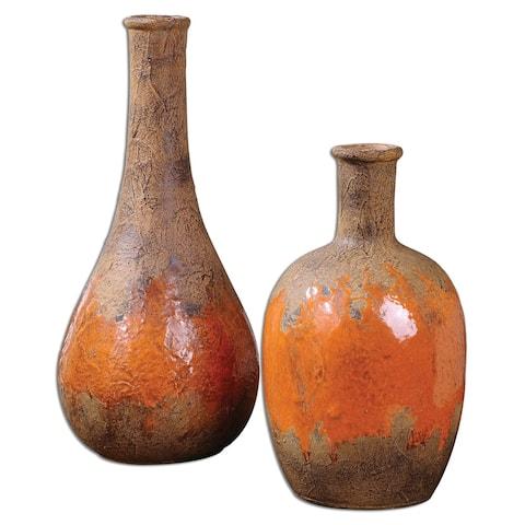 Uttermost 19825 Kadam Orange Ceramic Vases - Set of 2