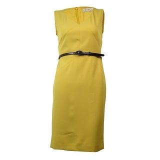 Kasper Women's V-Neck Sleeveless Belted Dress