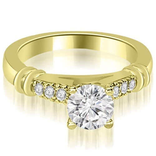0.90 cttw. 14K Yellow Gold Round Cut Diamond Engagement Ring