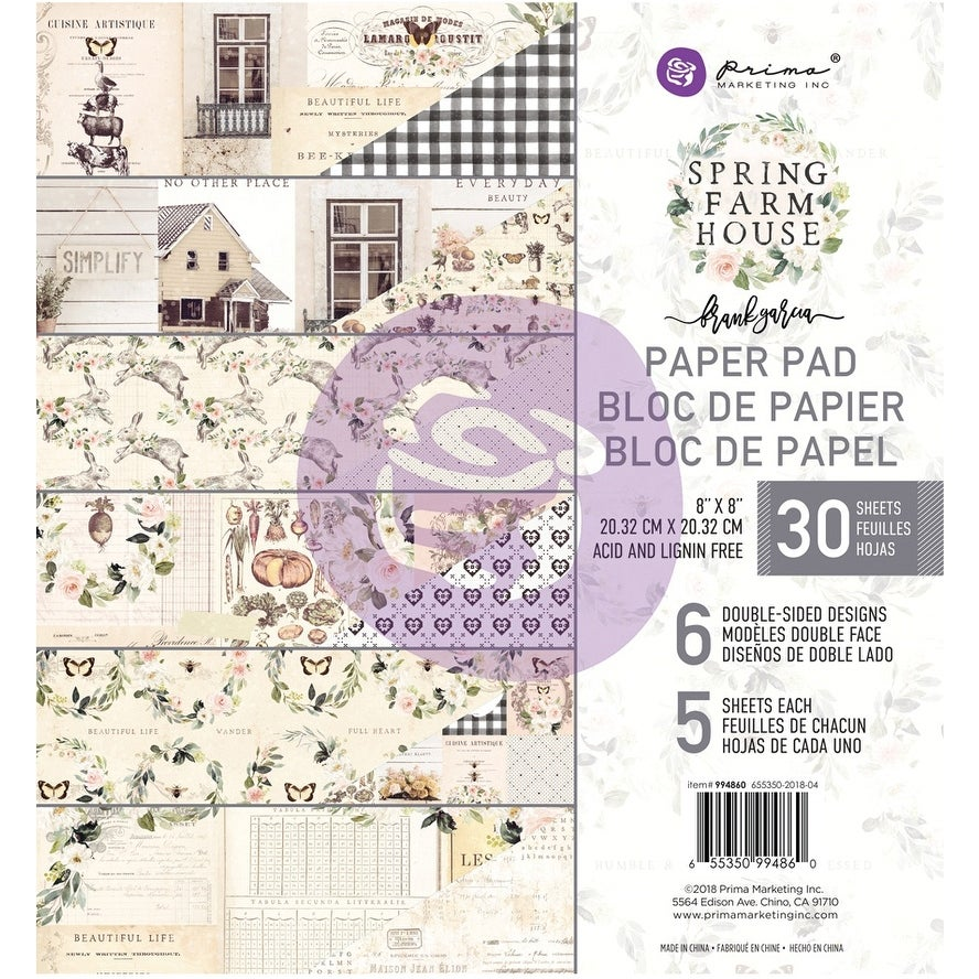 """Prima Marketing Double-Sided Paper Pad 8/""""X8/"""" Spring Farmhouse 6 Designs//5 Each"""