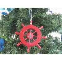 6 in. Red Decorative Ship Wheel with Anchor Christmas Tree Ornament