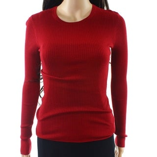 Theory NEW Red Womens Size Medium M Ribbed Long-Sleeve Knit Top Wool