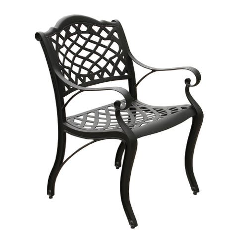 Ornate Traditional Outdoor Cast Aluminum Black Patio Dining Chair