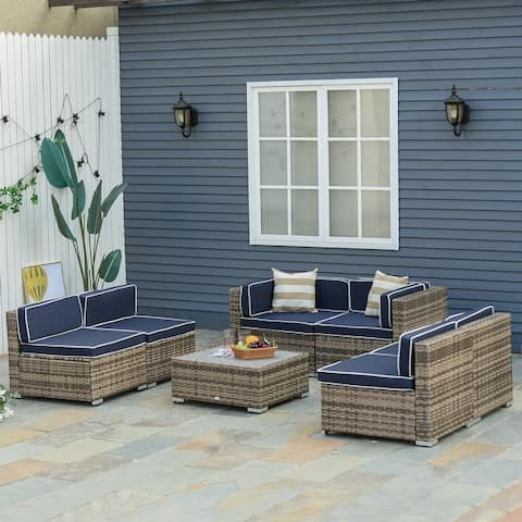 Outsunny 7-Piece Outdoor Patio Furniture Set with Modern Rattan Wicker, Perfect for Garden, Deck, and Backyard