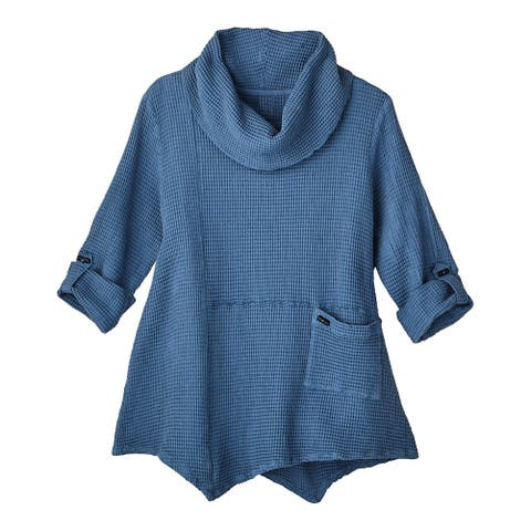 Focus Fashion Women's Tunic Top - Lightweight Waffle-Weave Roll-Tab Sleeve Shirt