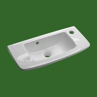 Bathroom Wall Mount Sink Small Vessel With Overflow Hole and Single Faucet Hole