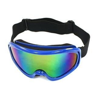 Unique Bargains Blue Frame Coloured Width Lens Eye Wear Ski Goggles for Women Man