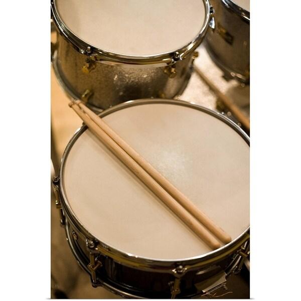 """Drum kit and drumsticks"" Poster Print"