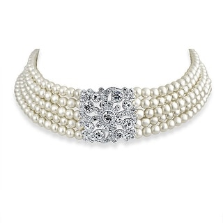 Bling Jewelry Crystal Imitation White Pearl Choker Rhodium Plated Necklace 13 Inches