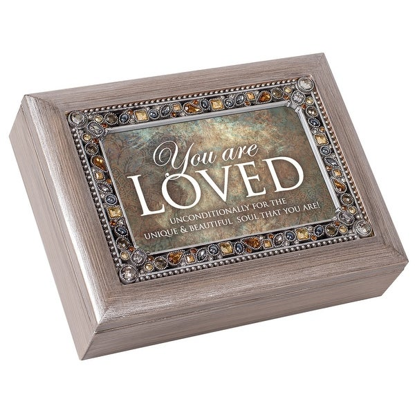 """8"""" Gray and Amber """"You are LOVED"""" Music Keepsake Box - N/A"""