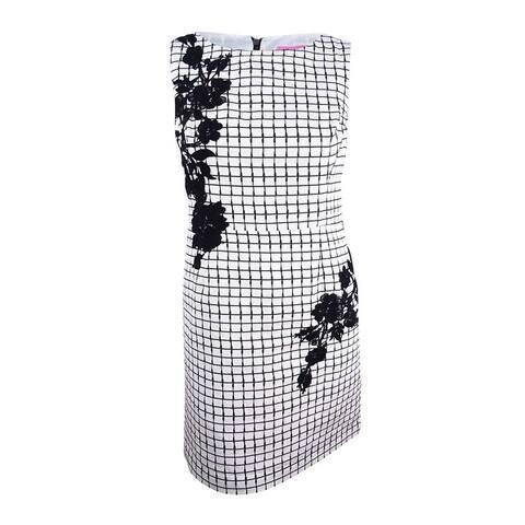 Betsey Johnson Women's Floral-Applique Sheath Dress - Ivory/Black