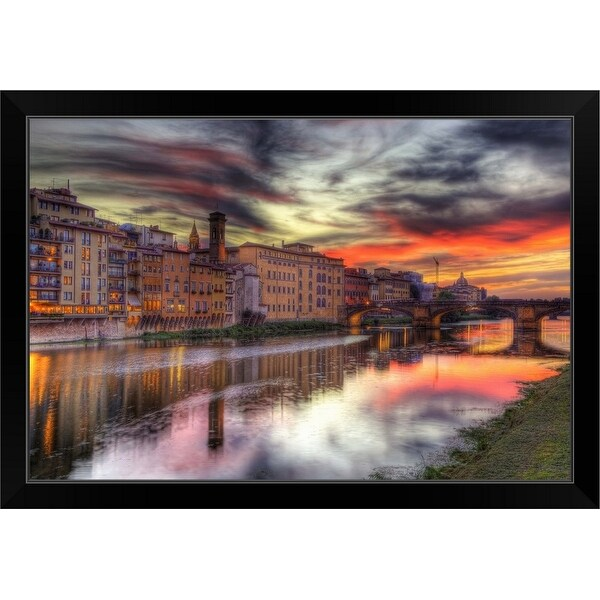 """Dusk waterfront in Tuscany, Italy"" Black Framed Print"