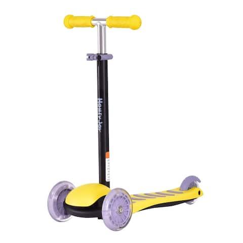 Goplus 3 LED Light Up PU Wheels Kids Kick Scooter Adjust Handle Bar