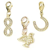 Julieta Jewelry Dove, Infinity Sign, Horseshoe 14k Gold Over Sterling Silver Clip-On Charm Set