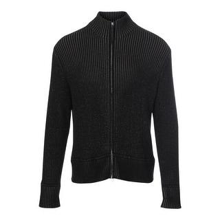Calvin Klein Mens Ribbed 1/4 Zip Funnel-Neck Sweatshirt - L