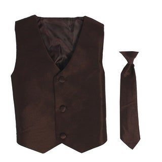 Baby Boys Brown Poly Silk Vest Necktie Special Occasion Set 3-24M