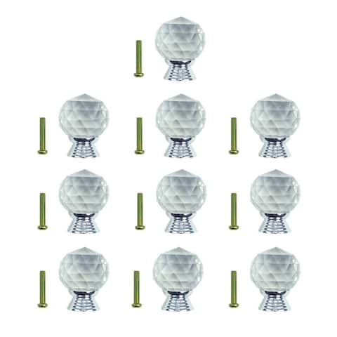 Clear Glass Cabinet Knobs 30mm Round, 1.5 inch projection 10 pcs