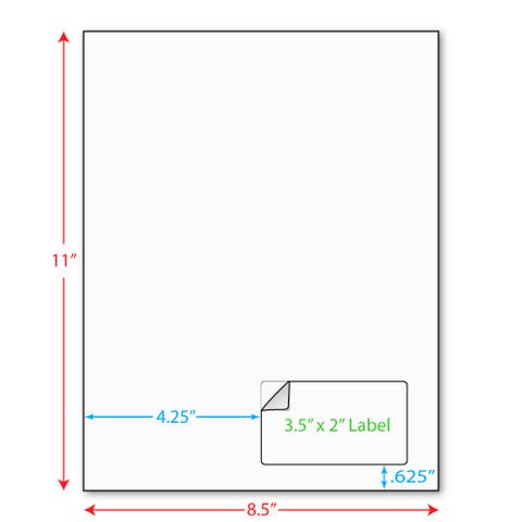 """3-1/2"""" x 2"""" (3.5"""" x 2"""") Integrated Laser Label Form Sheets, 1 Label Right Edge (Lot of 250) - White - 3-1/2 x 2 in"""