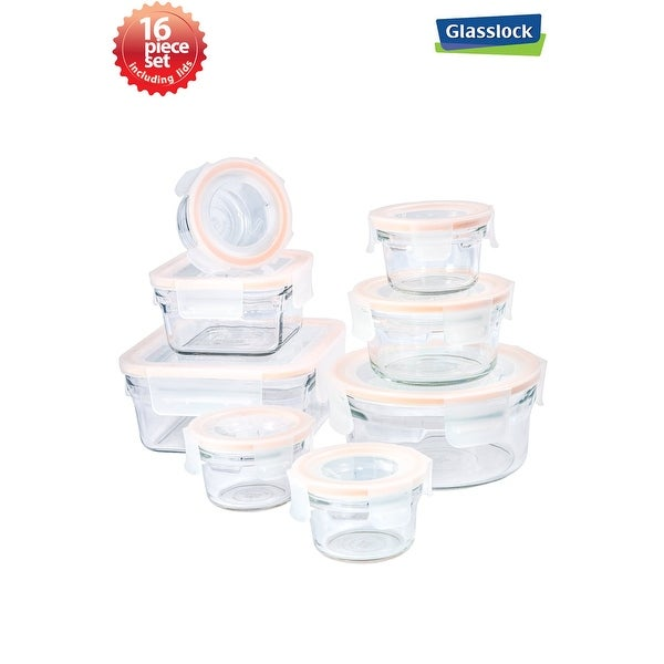 Glasslock 16-Piece Rimless Food Storage Container Set