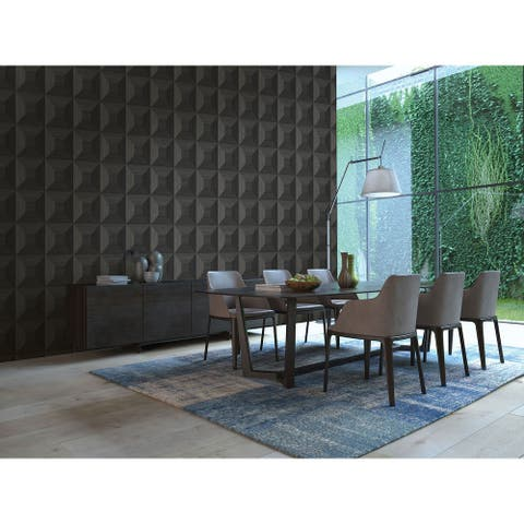 Seabrook Designs Squared Away Geometric Embossed Vinyl Unpasted Wallpaper