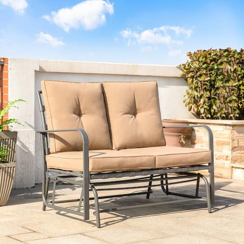 "Outdoor Patio 40""L Steel Loveseat Glider Chair with Cushions by Glitzhome"