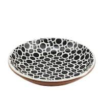 "Basic Luxury Decorative Black Circles on Lily White Terracotta Bowl 12.25"""