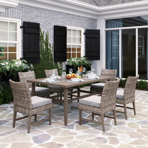 Martha Stewart Broxton 7-Piece Dining Set in Light Brown and Beige