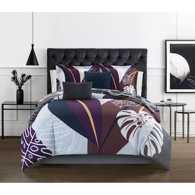 Porch & Den New Forest Floral Print 9-piece Bed in a Bag Comforter Set