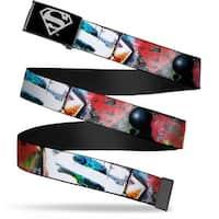 Superman Reverse Brushed Silver  Cam Superman Logos Weathered Webbing Web Belt