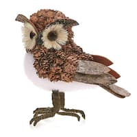 "Pack of 2 Country Rustic Oliver the Owl Bark and Pine Cone Christmas Table Top Decorations 7.5"" - brown"
