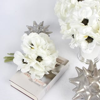 Buy silk flowers silk plants artificial plants online at overstock g home collection silk 9 anemone flower bouquet in white 10 tall mightylinksfo