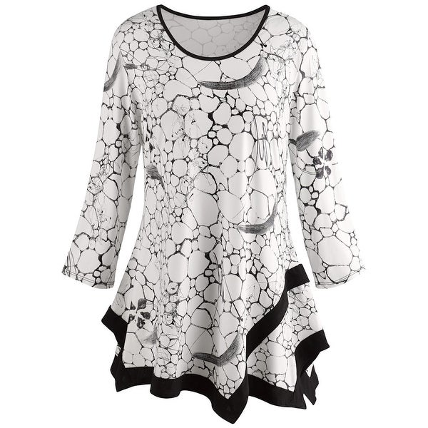 6956e5b10ff2bf Shop Women's Tile Print Tunic Top - Black and White Print Fashion Blouse -  On Sale - Free Shipping Today - Overstock - 18221270