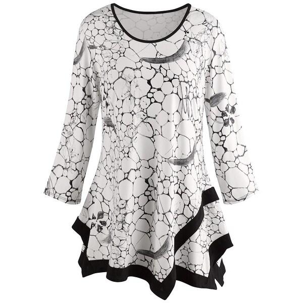 Women's Tile Print Tunic Top - Black and White Print Fashion Blouse