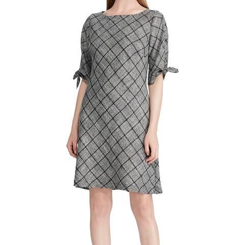 American Living Women's Dress Gray Size 12 Sheath Plaid-Print Tie-Cuffs