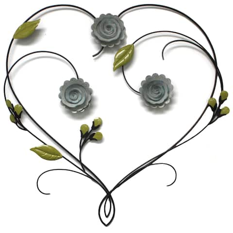 "Brewster X54100 Leighton 23-1/4"" x 23-3/4"" Botanical Heart Iron Wall Art"