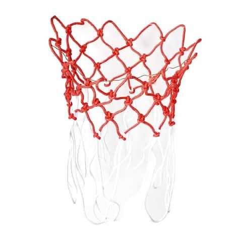 "Unique Bargains 2 Pcs 17.3"" Long Nylon Braided Basketball Net 13 Loops Red White"