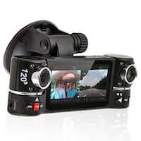 "Indigi® F600 Car DVR DashCam w/ Dual Rotating Cameras (Front+Rear) with 2.7"" LCD w/ Nightmode & Gravity Sensor - Black"