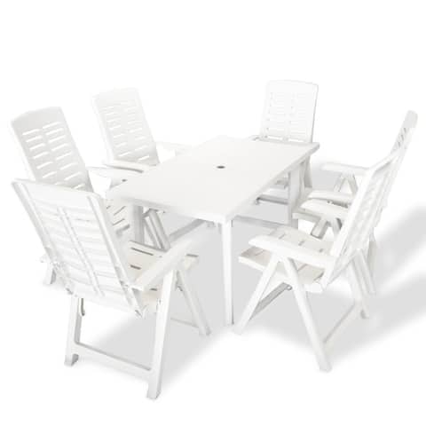 vidaXL 7 Piece Outdoor Plastic Foldable Garden Furniture Set