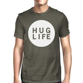 Hug Life Men's Dark Grey T-shirt Crew Neck Graphic Tee For Men