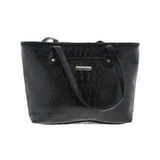Marc Fisher Womens Day By Day Faux Alligator Faux Leather Shopper Handbag - Black - Large
