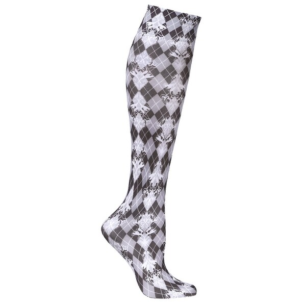 JET PARENT - Printed Mild Compression Wide Calf Knee Highs - Damask Harlequin - Medium
