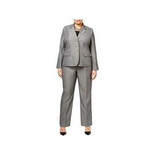 Le Suit Womens Plus Pant Suit 2PC Flat Front