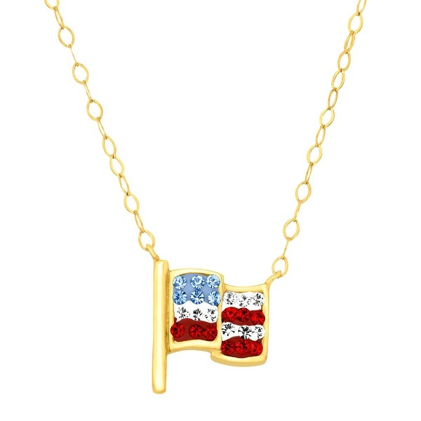 Crystaluxe Teeny Tiny American Flag Necklace with Swarovski Elements Crystals in 10K Gold